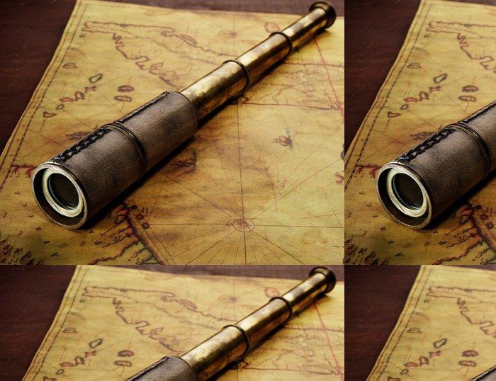 Tapeta Pixerstick Close-up z dalekohled na staré mapě - Témata