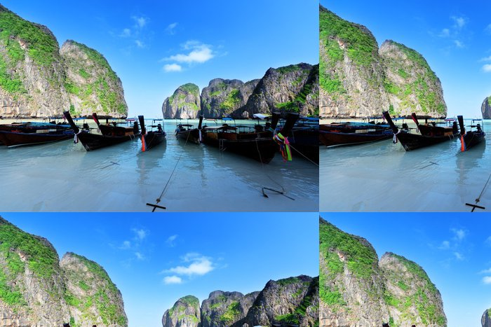 Tapeta Pixerstick Čluny na ostrov Maya bay Phi Phi Leh, Thajsko - Voda