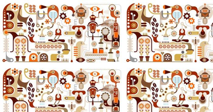 Tapeta Pixerstick Coffee Factory - abstraktní vektorové ilustrace - Do kavárny