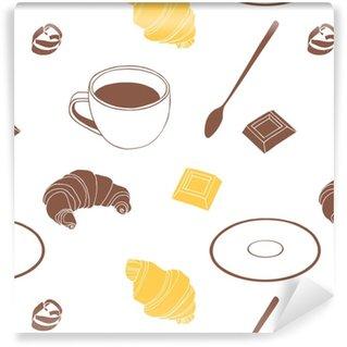 Vinylová Tapeta Čokoládový croissant, vanilkový croissant, bílá čokoláda, lžíce, talířek a šálek kávy.