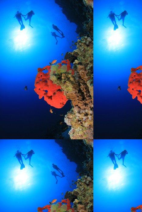 Tapeta Pixerstick Coral Reef a Scuba Divers - Vodní sporty