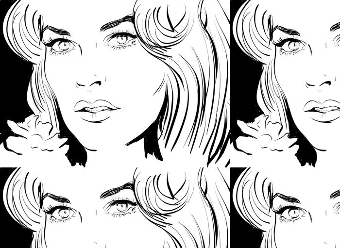 Tapeta Pixerstick Croquis noir et blanc vizáž belle femme - Štěstí
