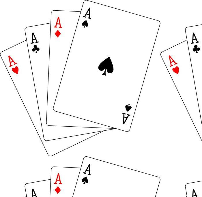 Tapeta Pixerstick Čtyři esa hrací karty poker - Nálepka na stěny