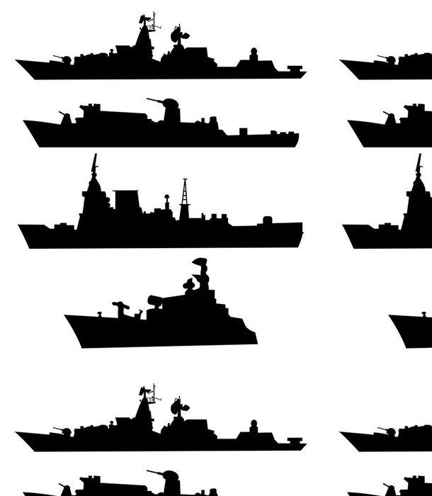 Tapeta Pixerstick Čtyři siluety vojenské lodi - Úspěch