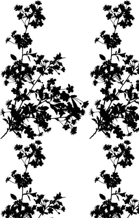 Tapeta Pixerstick Čtyři větve černá třešeň - Květiny