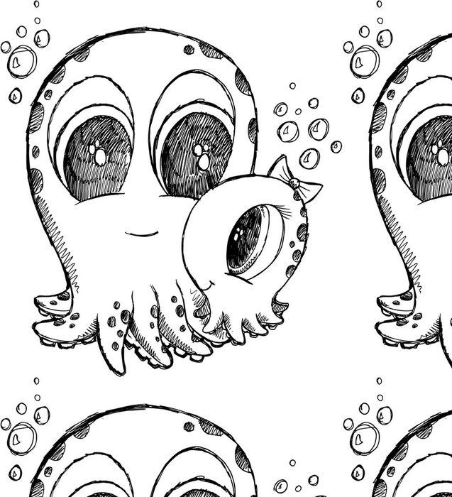 Vinylová Tapeta Cute Doodle skica chobotnice vektor - Vodní a mořský život