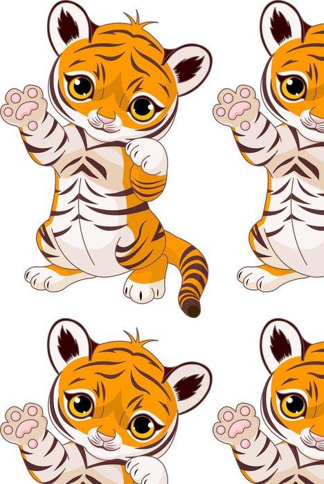 Tapeta Pixerstick Cute hravé tygřík - Nálepka na stěny