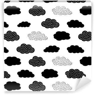 Tapeta Pixerstick Czarno-biały szwu z chmurami. Cute baby shower tło wektor. Styl rysowania dla dzieci ilustracji.
