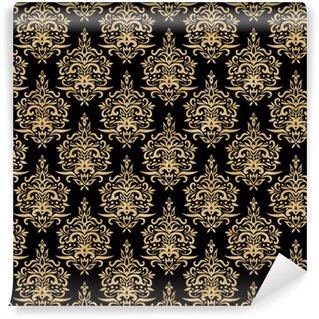 Vinylová Tapeta Damask bezešvé vzor - černá a zlatá textura
