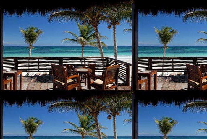 Vinylová Tapeta Deck s výhledem na pláž - Voda