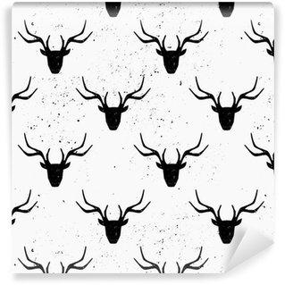 Vinylová Tapeta Deer Head Silhouette Seamless Pattern
