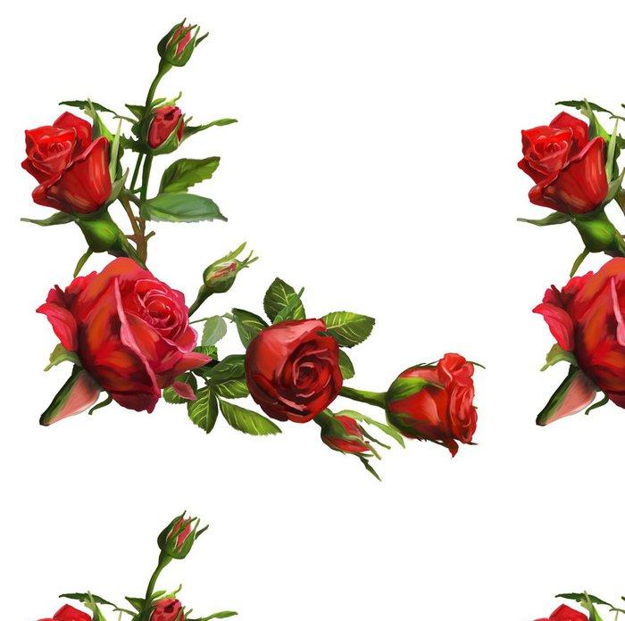 Tapeta Pixerstick Dekorace z červených růží květy - Květiny