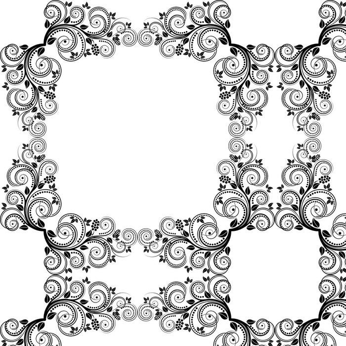 Tapeta Pixerstick Dekorativní květinový rám - Značky a symboly