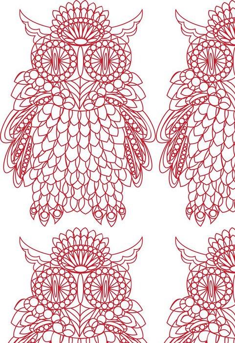 Tapeta Pixerstick Dekorativní pták - sova je vyroben z krajky, izolovaných na bílém backgro - Imaginární zvířata