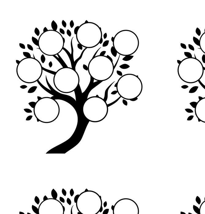 Tapeta Pixerstick Dekorativní rodinný strom designu, vložte své fotografie, znaky - Značky a symboly