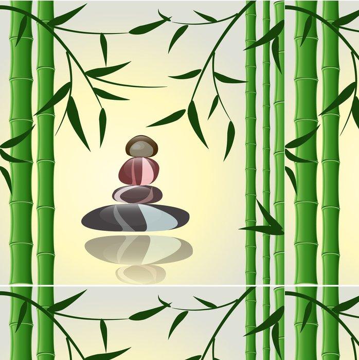 Tapeta Pixerstick Design pozadí bambus s kameny pro lázně - Pozadí