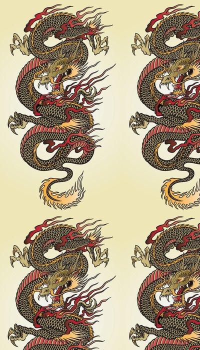 Tapeta Pixerstick Detailní Asijské Dragon Tattoo Ilustrace - Témata