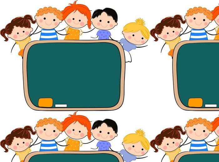 Tapeta Pixerstick Děti a tabule - Nálepka na stěny