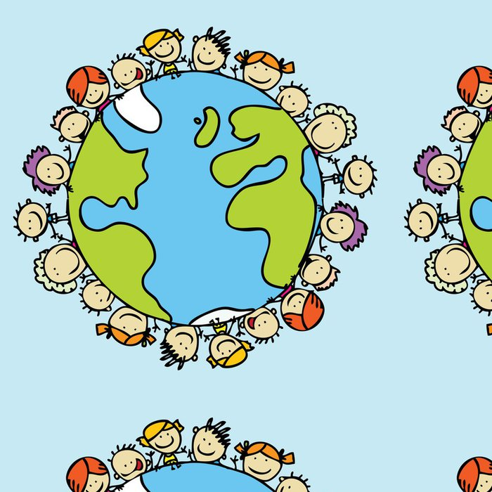 Tapeta Pixerstick Děti na celém světě společně zachránit planetu Zemi - Pozadí