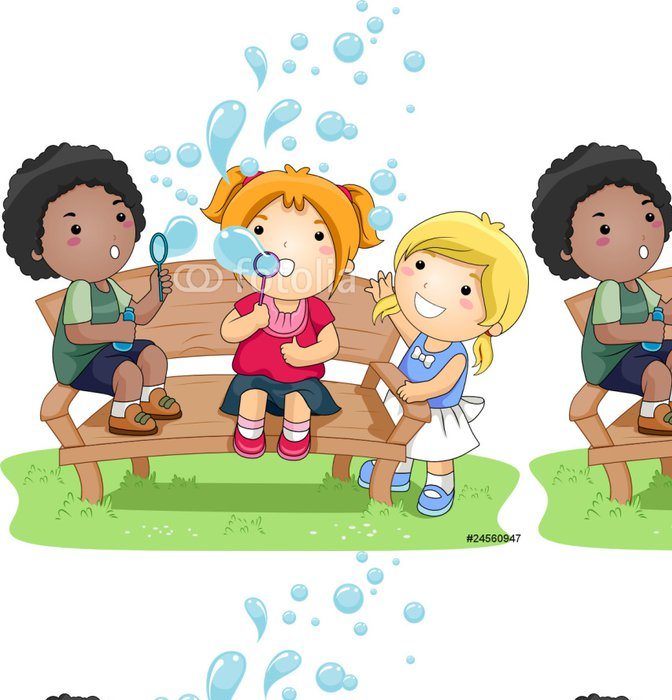 Vinylová Tapeta Děti vyfukování bublin v parku - Hry