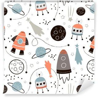 Vinylová Tapeta Dětinský bezešvé vzorek s ručně kreslenými prostorovými prvky prostor, raketa, hvězda, planeta, vesmírná sonda. trendové děti vektorové pozadí.