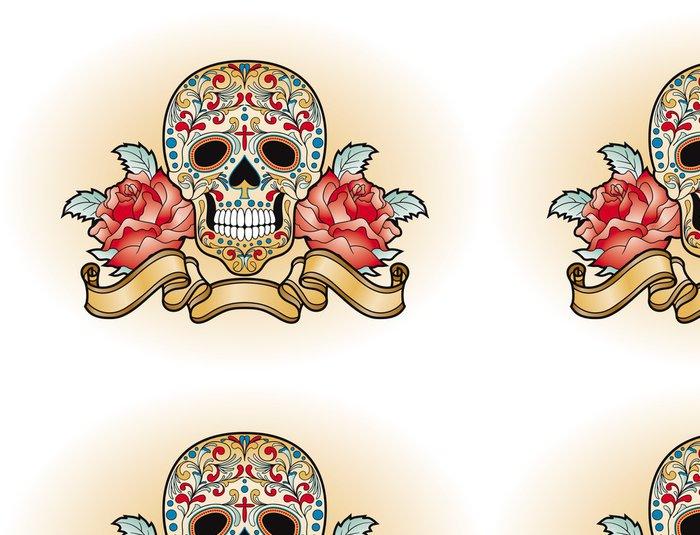 Tapeta Pixerstick Dia de Muertos - lebka s růží - Amerika