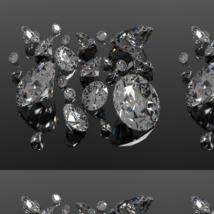 Tapeta Pixerstick Diamanty klenot na černém povrchu - Móda