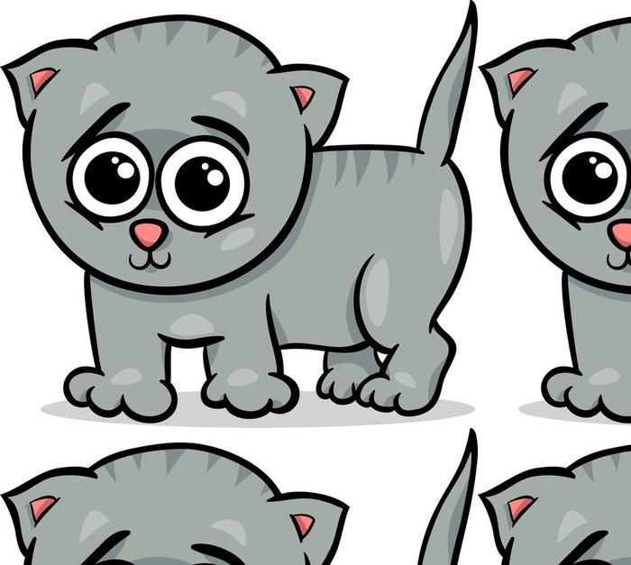Tapeta Pixerstick Dítě kočka kotě kreslené ilustrace - Nálepka na stěny