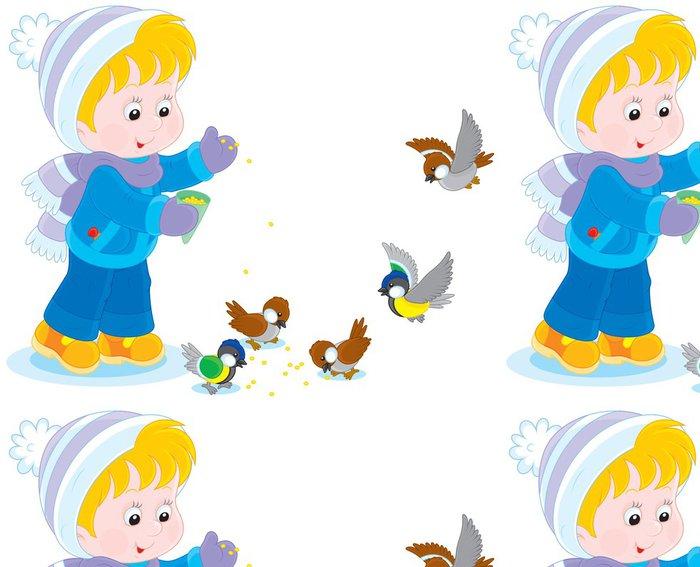 Tapeta Pixerstick Dítě krmí ptáky - Děti
