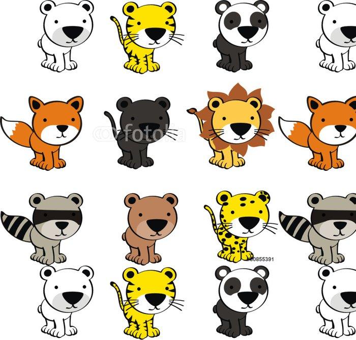 Tapeta Pixerstick Dítě roztomilé zvířata cartoon set vektor - Nálepka na stěny