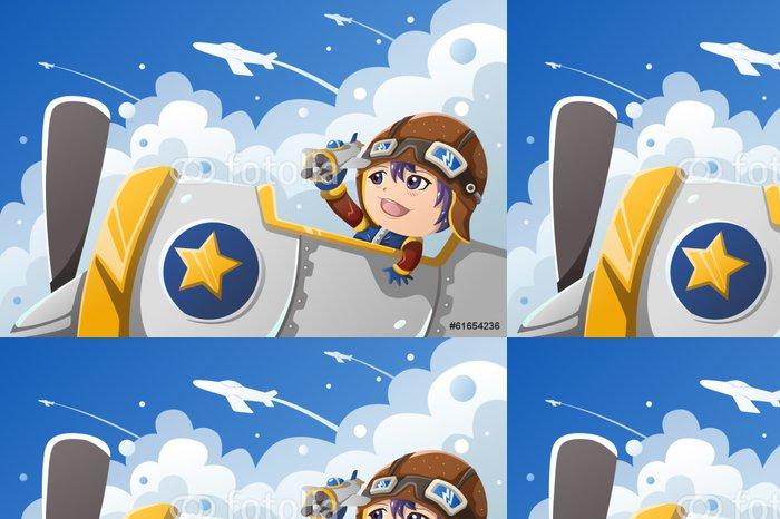 Tapeta Pixerstick Dítě si hraje s letadlem - Děti