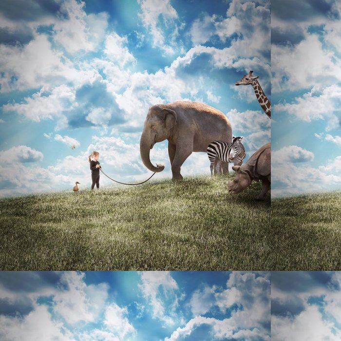 Tapeta Pixerstick Dívka Chůze slon a zvířat ve volné přírodě - Témata