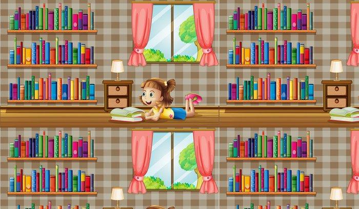 Vinylová Tapeta Dívka čtení knih v blízkosti okna -