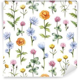 Tapeta Pixerstick Divoké květiny ilustrační. Akvarel bezešvé vzor
