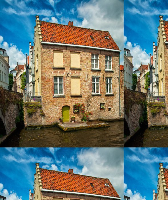 Tapeta Pixerstick Domy podél kanálů v Bruggách a Bruggy, Belgie - Evropa