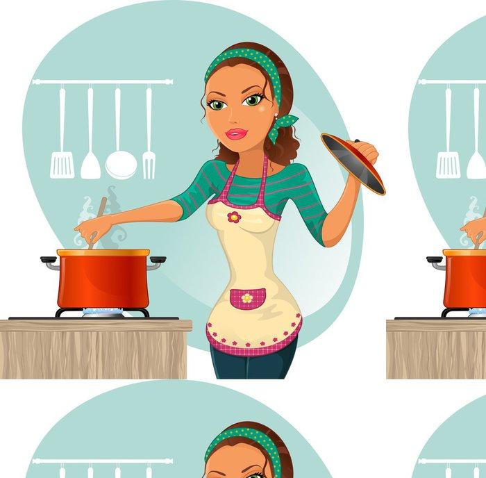 Tapeta Pixerstick Donna che cucina-žena vaření - Nálepka na stěny