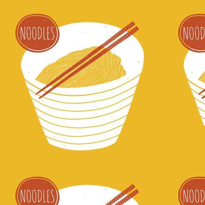 Vinylová Tapeta Doodle nudle v misce s hůlkami. Ručně kreslenými vektorové ilustrace pro kuchyně a kavárny - Jídlo