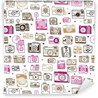 Tapeta Pixerstick Doodle powtarzalne wzór aparat fotograficzny w wektorze
