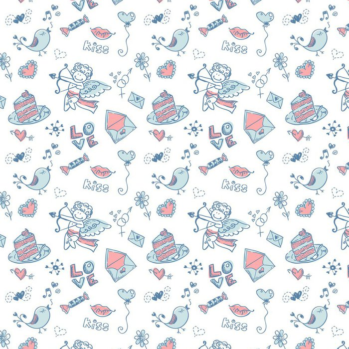 Tapeta Pixerstick Doodle Valentýn bezešvé textury - Pozadí