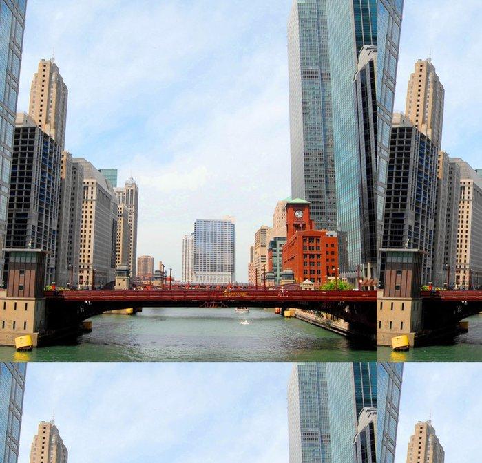 Tapeta Pixerstick Downtown Chicago Waterfront a výškové budovy, USA - Amerika