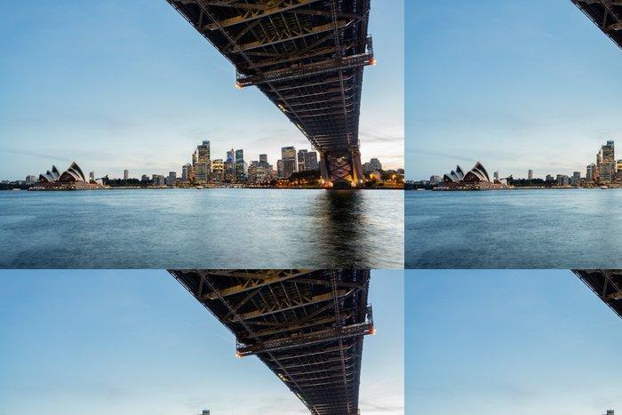 Tapeta Pixerstick Dramatické panoramatické fotografie západ slunce Sydney přístav - Oceánie