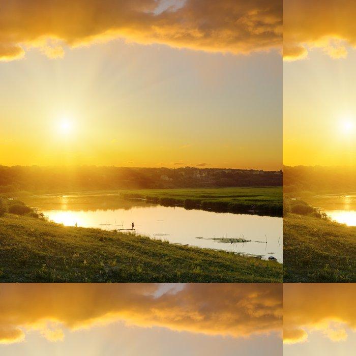 Vinylová Tapeta Dramatický západ slunce nad řekou - Nebe