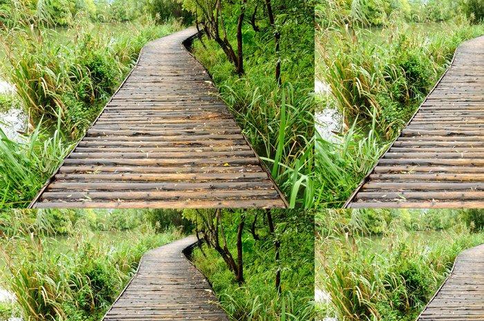 Tapeta Pixerstick Dřevěná cesta v parku - Outdoorové sporty