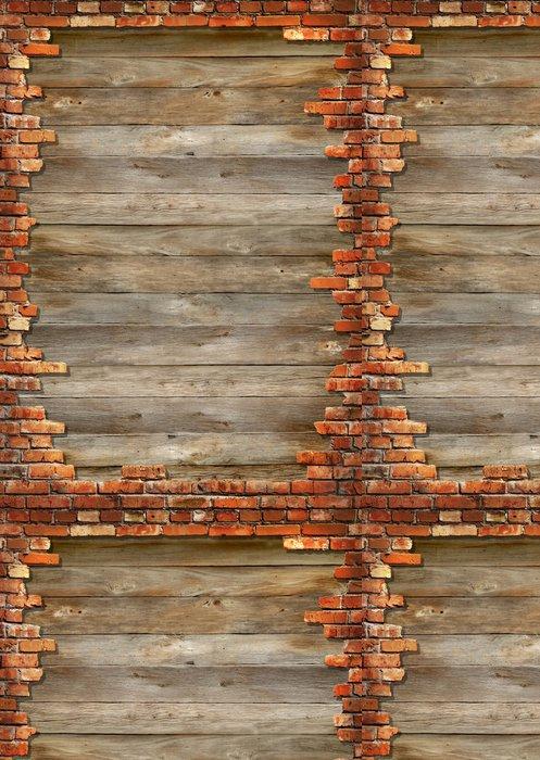 Tapeta Pixerstick Dřevěná prkna pozadí textury s rámování cihlové zdi - Těžký průmysl