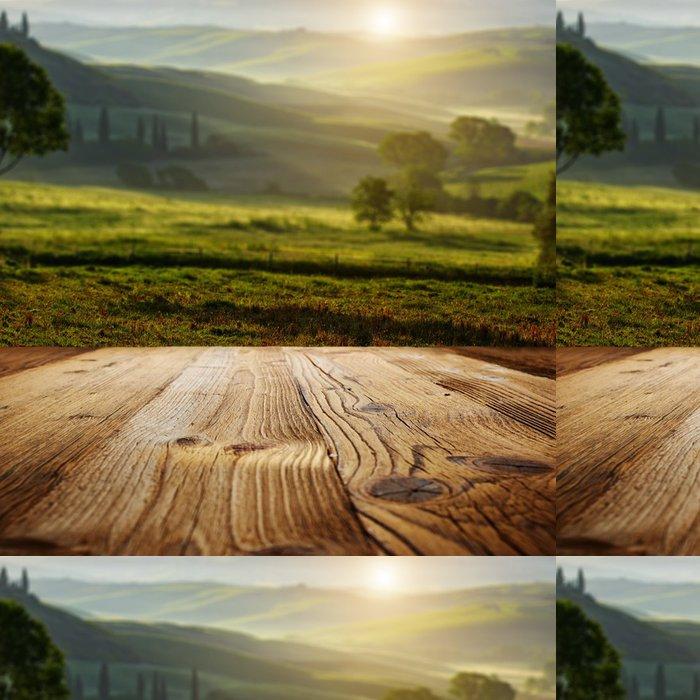 Vinylová Tapeta Dřevěné texturované pozadí na Toskánsko krajiny - Témata