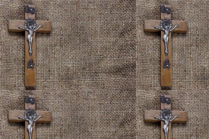 Tapeta Pixerstick Dřevěný kříž na staré plátně - Náboženství