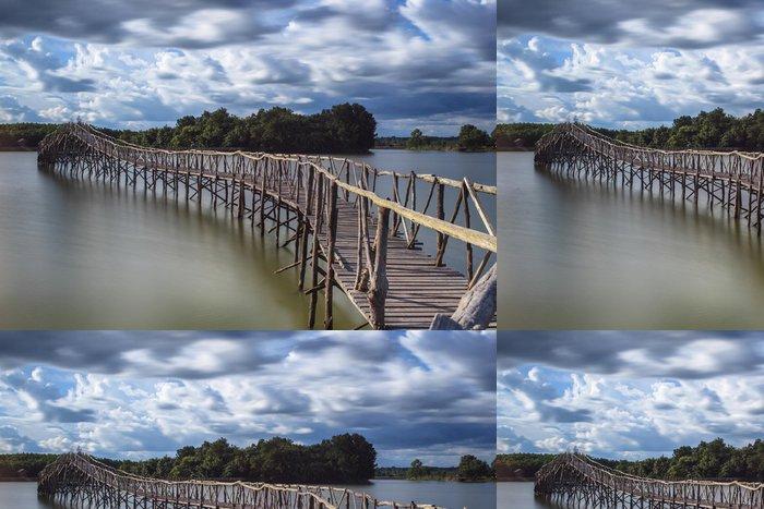 Tapeta Pixerstick Dřevěný most crossover nádrž jižní Thajska - Asie