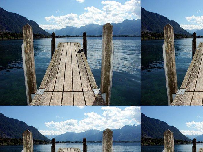 Tapeta Pixerstick Dřevěný most na jezeře - Infrastruktura