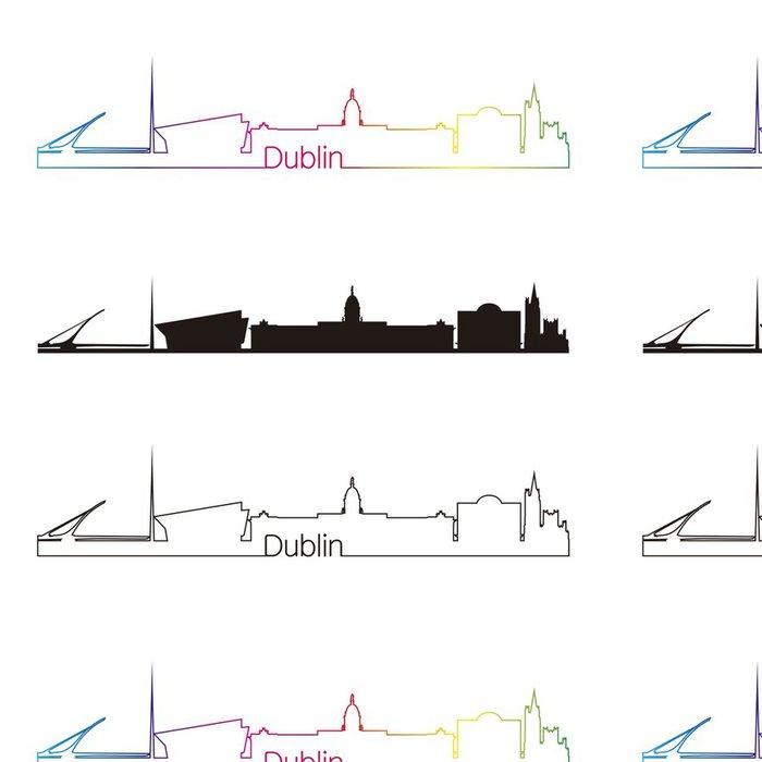 Tapeta Pixerstick Dublin panorama lineární styl s duhou - Evropa