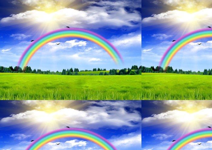 Tapeta Pixerstick Duha na modré obloze nad mýtinu - Pozadí